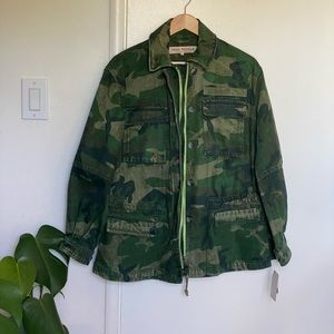 NWT Free People Oversized Camo Denim Jacket URBAN